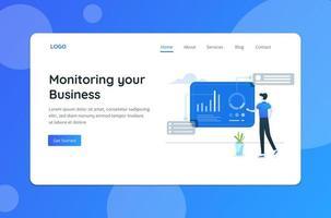 surveillance de la page de destination du concept d'entreprise vecteur