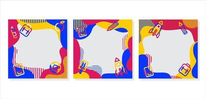 motif coloré et fournitures de retour aux cadres scolaires vecteur