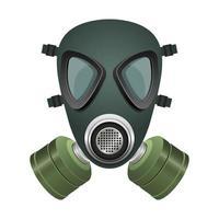 masque à gaz noir et vert vecteur