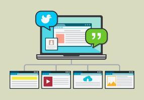 Application de portail mobile pour les médias sociaux vecteur