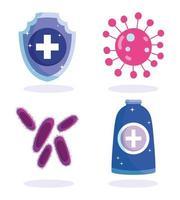 jeu d'icônes d'infection virale et de soins de santé