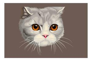 dessin animé tête de chat dessin à la main vecteur