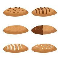 ensemble de délicieux biscuits isolé sur blanc