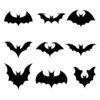 icônes de chauve-souris isolés vecteur