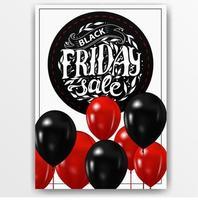 signe vertical vendredi noir avec des ballons vecteur