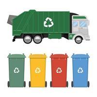 camion à ordures et bacs de recyclage