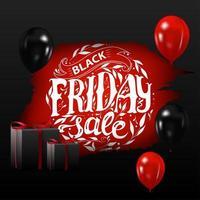 bannière affiche de vente vendredi noir avec des ballons