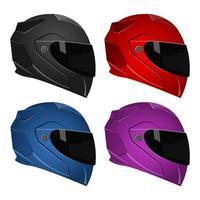 casques de moto isolés vecteur