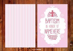 Carte de baptême à rayures pour fille vecteur