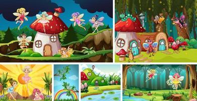 six scènes de la nature différentes vecteur