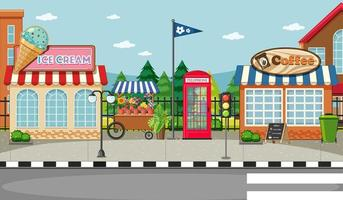 Scène de rue avec magasin de crème glacée vecteur