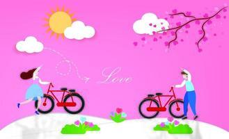 beau couple avec des vélos à l'extérieur