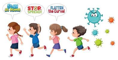 les enfants fuient le coronavirus vecteur