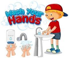 se laver les mains poster vecteur