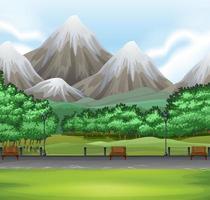 scène de la nature avec parc vecteur