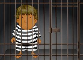 prisonnier enfermé dans la prison vecteur