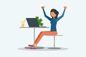 femme excitée pour gagner de l'argent en ligne concept