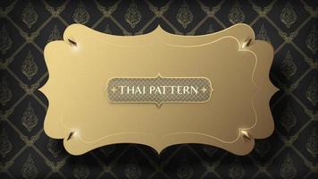 cadre doré flottant abstrait sur motif thaï traditionnel or