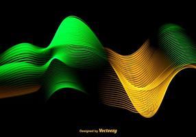 Abstrait Vague verte et jaune colorée - vecteur