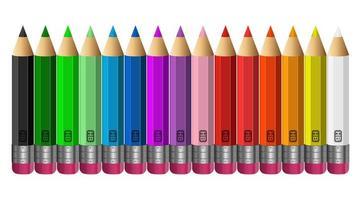 crayons de couleur isolés vecteur