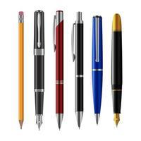 ensemble de stylo isolé vecteur