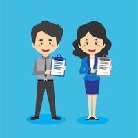 Caractères de vendeur détenant un document de contrat vecteur