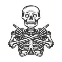 squelette humain en pose de métal