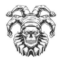 Vue de face du crâne de joker vecteur