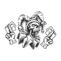 crâne de joker avec des cartes vecteur