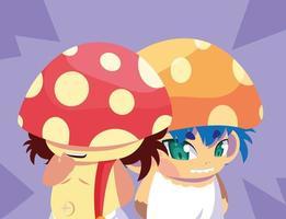petits personnages de conte de fées champignon vecteur