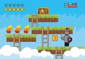 scène de pixel-art avec un soldat et un personnage de feu vecteur