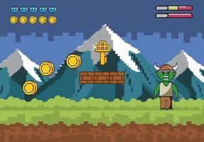 montagnes enneigées avec pixel-art de caractère démon vecteur