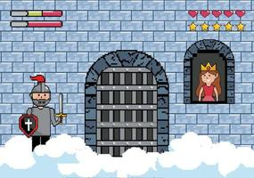 Pixel-art princesse et soldat dans un château vecteur