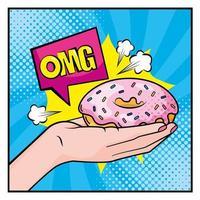 main de style pop-art tenant un beignet