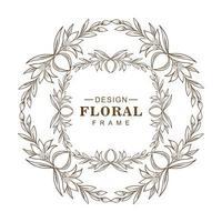 cadre floral double croquis circulaire vecteur
