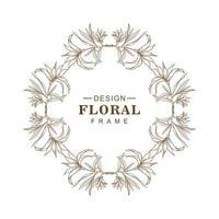 cadre floral élégant esquisse circulaire vecteur