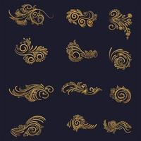 ensemble de décoration florale dorée artistique vecteur