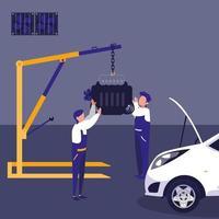 voiture en atelier de maintenance avec équipe de mécaniciens