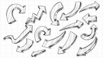 jeu de flèches de croquis créatif dessiné à la main vecteur