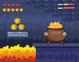 jeu vidéo, pot de chaudron pixel-art avec pièces d'or vecteur