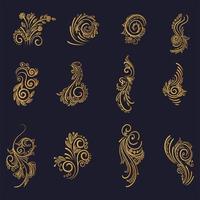 bel ensemble floral décoratif doré artistique vecteur