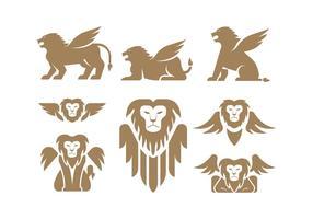 Vecteurs de lion à ailes vecteur