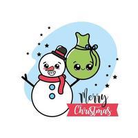 Noël, carte de voeux de bonhomme de neige