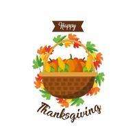 panier de légumes, carte de voeux de Thanksgiving vecteur