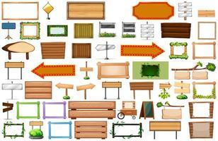 grand ensemble et de panneaux de signalisation en bois