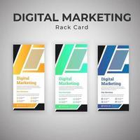 cartes de support de marketing numérique jaunes, vertes et bleues
