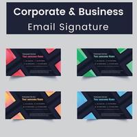 modèles de signature d'e-mail personnels et professionnels colorés vecteur