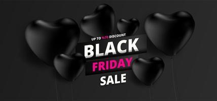 bannière de vente vendredi noir avec des ballons coeur noir sur fond noir