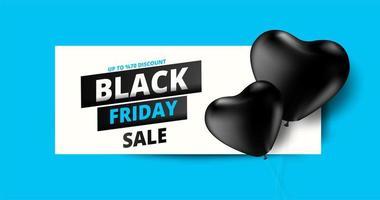 bannière de vente vendredi noir avec des ballons coeur noir