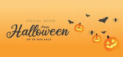 bannière de vente orange joyeux halloween